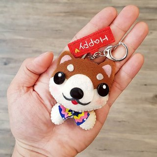 Skillful cat x city cat wood dog pure hand sewing custom name puppet hanging decoration key ring birthday gift