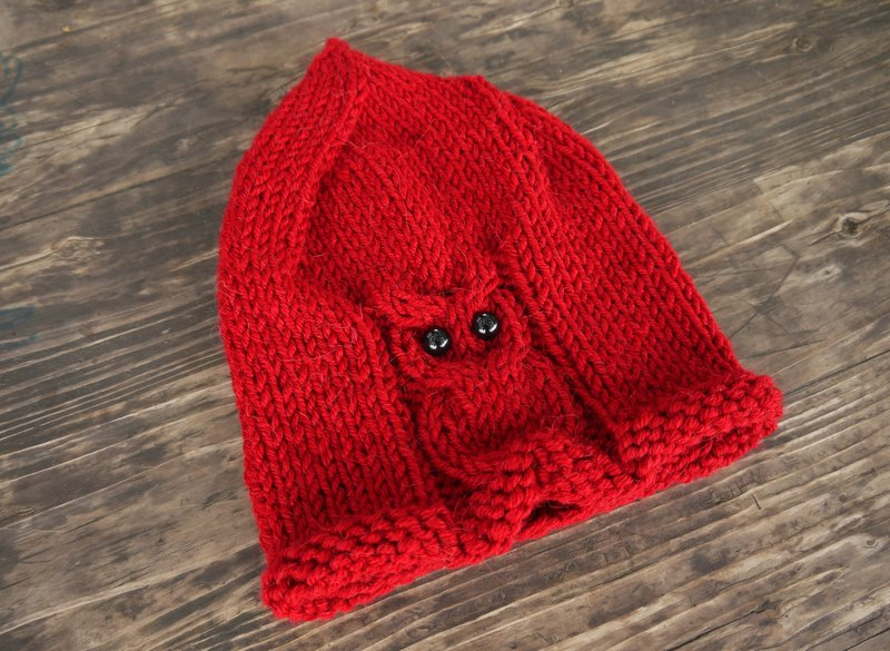 Mama 100% hand-made hat - Owl Elf caps - classic red - Christmas / exchange gifts