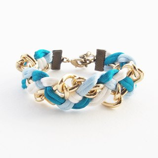 Blue mint white braided with gold chain bracelet