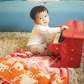 Warm blanket / baby blanket / month indemnity ceremony ► Sweden Klippan organic cotton warm blanket - Cute Zoo (orange)