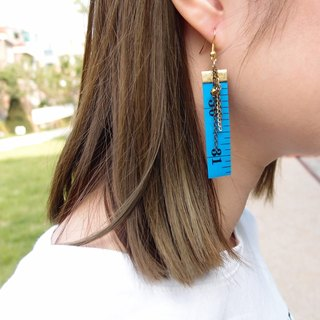 Inch Earrings| Tape measure earrings (Long) | Blue