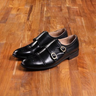 Vanger x PLaiN-me co-branded classic double buckle MENG Shi shoes Va99 gentleman black