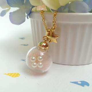 Glass ball in marshmallow (pearl strawberry) hypoallergenic necklace
