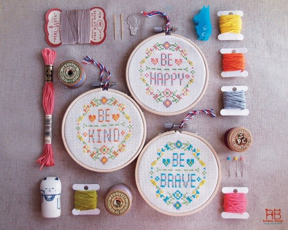 Modern quote Cross Stitch KIT DIY - Be Happy Be Brave Be Kind
