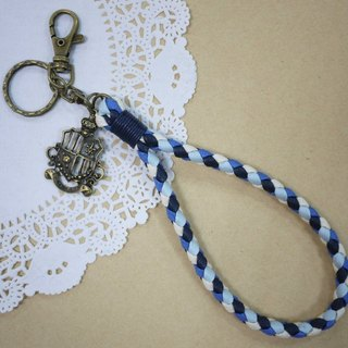 ~ M + Bear ~ vintage braided wire braided wax keychain key ring (four shares edge: blue line)