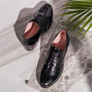 e cho Jazz actress British carved lace gentleman Oxford shoes Ec03 fashion black (a small size)