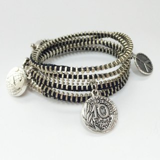 Spool around rope bracelet - silver round section models