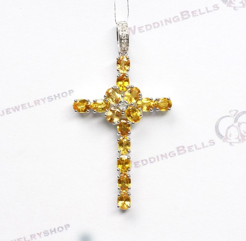 14K White Gold set w/ Yellow Color Sapphires and Diamond Cross Pendant