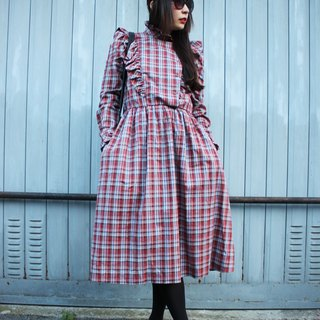 F1802 (Vintage) deep red flouncing cotton long-sleeved plaid vintage dress (wedding / picnic / party)