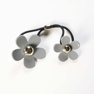 Gold Pearl Acrylic Double Flower, Hair Tie, Hair Ring - Grey