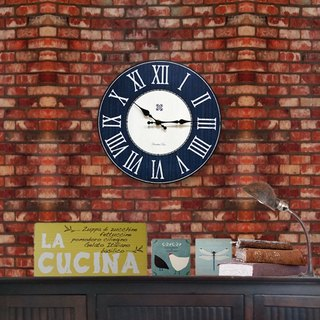 Solid wood vintage wall clock - blue - gray - Roman numerals - round -30cmX30cm - mute