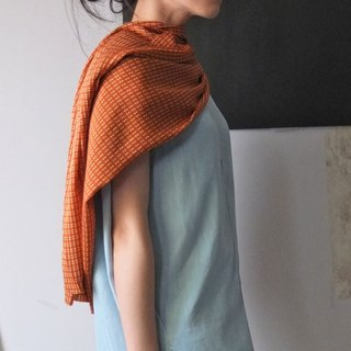 MétaFormose persimmon color line rule scarf (Limited imported fabrics)
