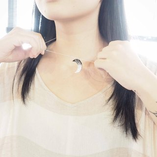 Vinyl Record Silver Foil Charm Crescent Moon Necklace // Silver Desert //