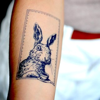 LAZY DUO Pet Animal Rabbit Bunny Afternoon Tea Cartoon Temporary Tattoo Stickers