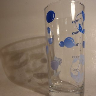 Vintage 500 cc Glass with Blue Flowers / dots Pattern early 500cc blue flowers with little pattern glass