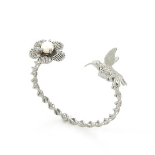 Humming Bird Bangle - black ruthenium