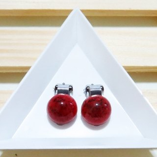 Fei Li} {red marble moire earrings (white steel ear clip / ear acupuncture can reform)