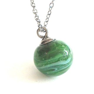 Malachite green colors (rich abundance) Planet Series / handmade glass necklace