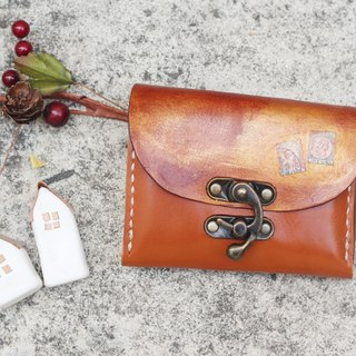 Accordion vegetable tanned leather short wallet  - Warm orange color
