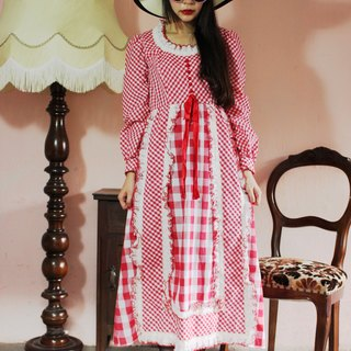 F1198 (Vintage) size checkered red stitching lace collar cotton long-sleeved vintage dress (wedding / picnic / party)