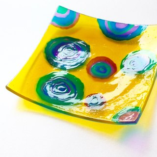 Circles│Yellow Geometric Pattern Glass Jewelry Dish・Retro Gifts