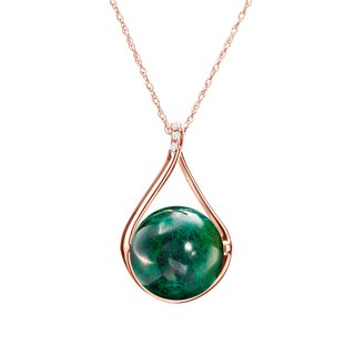 14k Malachite Necklace, Dark Green Stone Pendant, Chrysocolla Protection Pendant