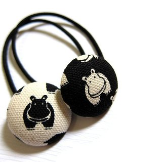 Hand-made cloth buttons black and white hair headband ring hippo
