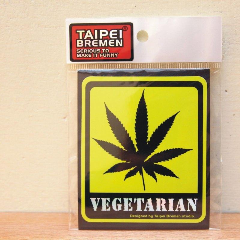 《台北不來梅》米奇鰻惡搞貼紙- vegetarian (大麻綠)
