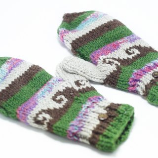 Valentine's Day gift hand-woven pure wool knit gloves / detachable gloves / crochet gloves / warm gloves - mint chocolate