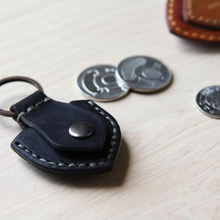 Black Hand Sewing Guitar PICK Leather Key Ring / Coin Storage Bag