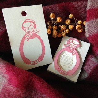 Hand-made rubber stamp - give you a hug Winter Limited Edition (love girls)