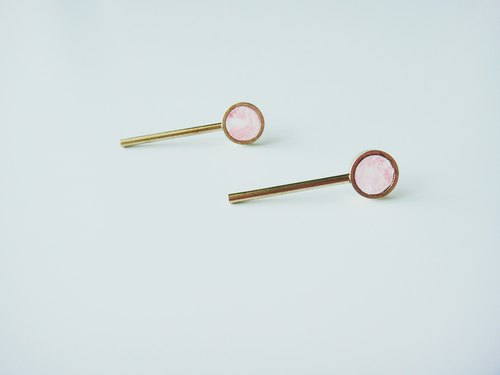 MARBLE LONG EARRINGS- pink brass earrings / handmade hand-made earrings / gift Accessories