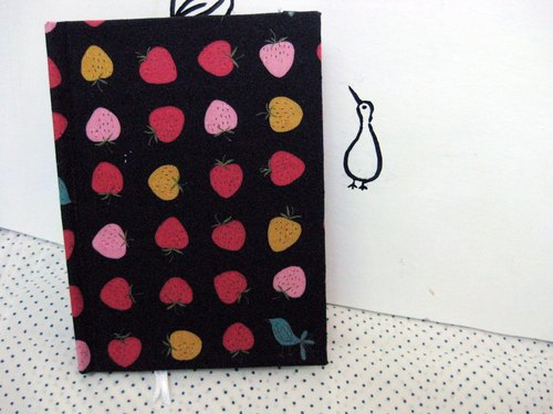 Rococo Strawberries WELKIN Handbag Series / Notebook / Hand / Diary - Black Strawberry Birds