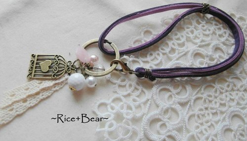 ~ M + Bear ~ ZAKKA grocery suede strap keychain (purple coffee)