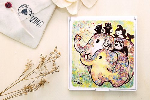 Good meow exquisite square Mirrors - Elephant flowering