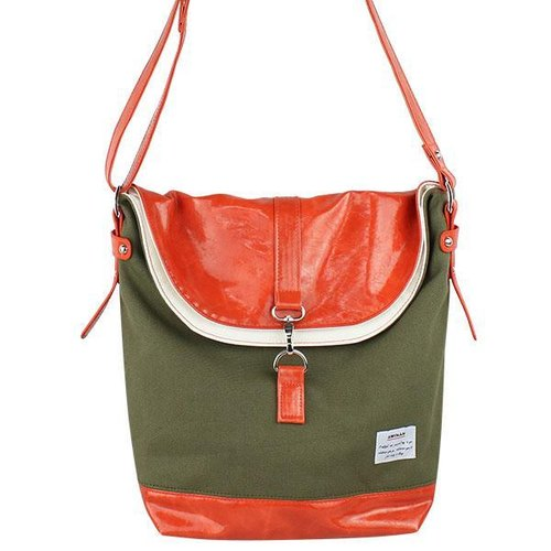 AMINAH- laminated side olive green backpack [am-0274]