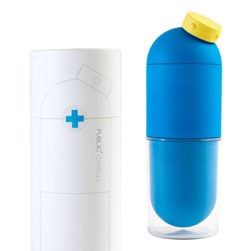 Ecojun combination - environmentally friendly materials accompanying kettle - Blue + accompanying cup - yellow