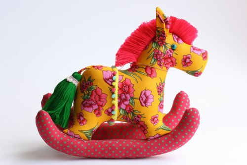 Even shook his hand-sewn Maputo / decorations (bright yellow cloth) - Fabric Rocking Horse