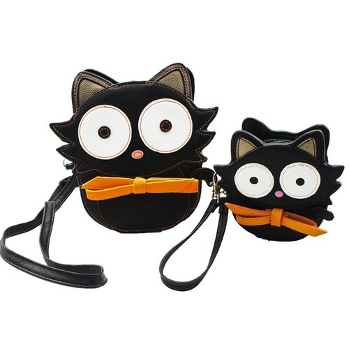 American design Sleepyville Critters Cool Music Village - Kiki Kiki tie small black messenger bag + purse combination