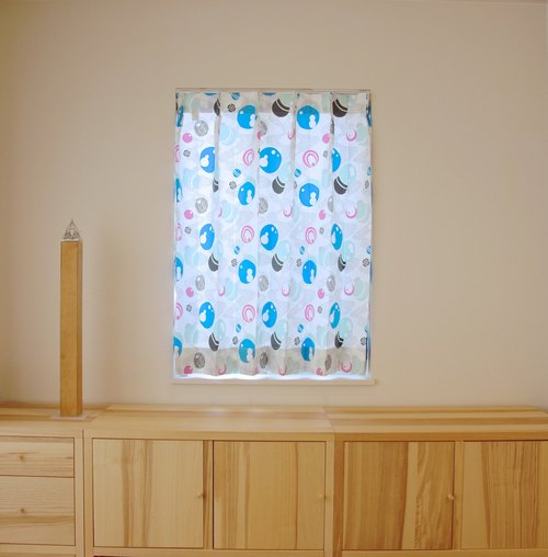 """MoRi MoRi"" Custom made curtains [ ""Mizutama"": Blue & Pink ] W 50cm~ 95cm / L 121cm~210cm"