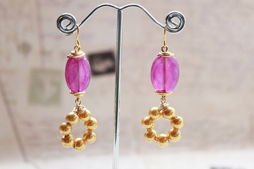 Purple with Golden Pearls Drop Long Earrings
