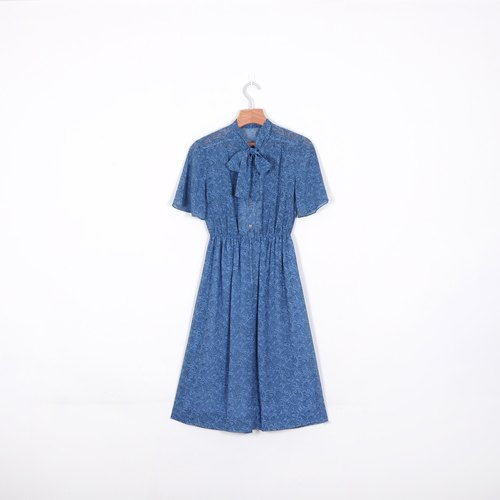 [Eggs] blue amoeba plant vintage prints vintage bandage dress