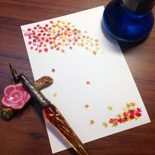 Postcard ~ ink stained Videos - fall maple