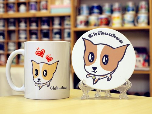 """NONCOOL. Cool farmers ""Chihuahua (short-haired). Mug (straight) - Coaster combination"