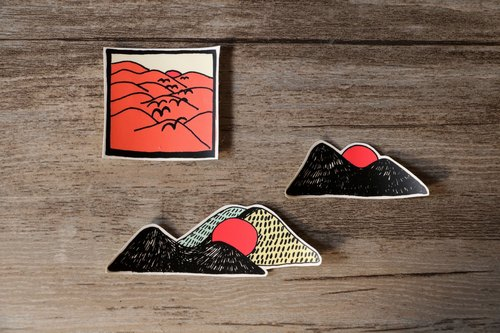 # 006 sunrise and sunset (3 in) _ creative waterproof stickers