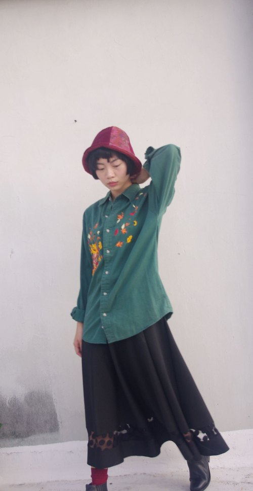 4.5studio- vintage treasure hunt - Winnie Wei Nika energization green embroidered long-sleeved shirt