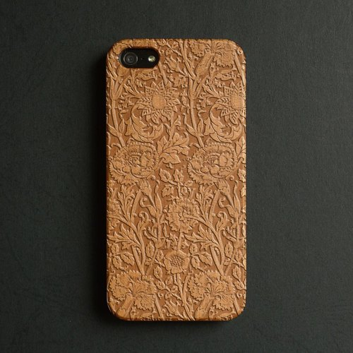 Real wood engraved iPhone 6 / 6 Plus case floral S005