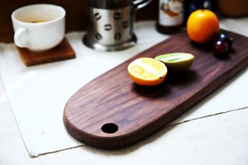 Xi Shan Kobo - wood cutting board, bread plate, cheese plate, dish (walnut, cherry) - baguettes long oval section