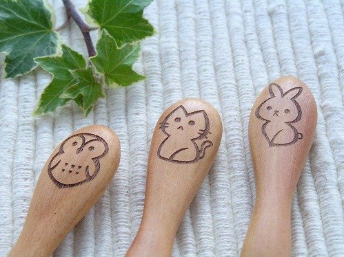 Japanese vine Yun wooden goods custom logo design - spoon fork
