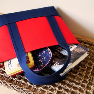 Classic Tote Ssize red x navy - Red x Navy Blue -